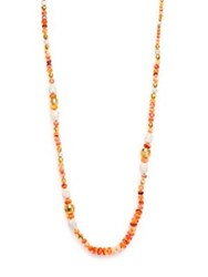 Chan Luu White Magnetite Faux Lion's Paw Pearl And Hexagon Long Beaded Necklace Peach