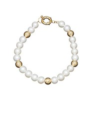 Honora 7Mm White Pearl And 14K Yellow Gold Bead Bracelet