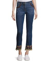 Etro Embroidered Skinny Jeans Light Blue
