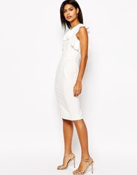 Asos Pencil Dress With Ruffle Detail Ivory Cream