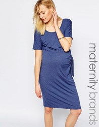 Mama Licious Mamalicious Jersey Dress With Knot Detail Blue