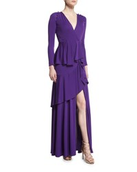 Roberto Cavalli Long Sleeve Ruffled Jersey Gown Purple