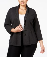 Alfani Plus Size Shawl Collar Knit Jacket Only At Macy's Coal Melange