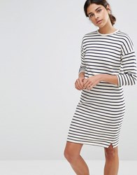 Native Youth Cocoon Stripe Dress Ecru Cream