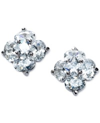 B. Brilliant Cubic Zirconia Flower Stud Earrings In Sterling Silver