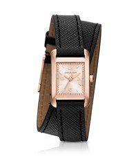 Michael Kors Taylor Rose Gold Tone And Leather Wrap Watch