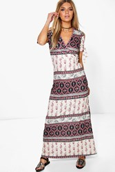 Boohoo Elephant Printed Cold Shoulder Maxi Dress Multi