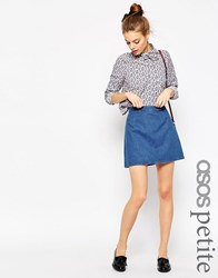 Asos Petite Denim A Line Mini Skirt In Midwash Blue Blue
