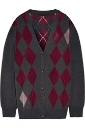 Alexander Wang Argyle Merino Wool Blend Cardigan Burgundy Gray