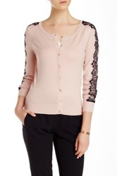 Carmen Marc Valvo Long Sleeve Scoop Neck Cardigan Pink