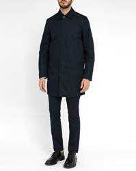 Paul Smith Navy Mac Cotton Mix Unlined Raincoat Blue
