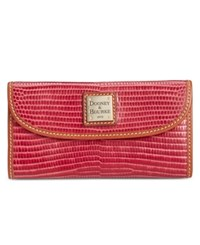 Dooney And Bourke Lizard Embossed Continental Clutch Wallet Pink