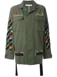 Off White Floral Embroidered Cargo Jacket Green
