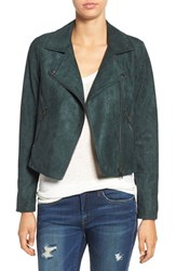 Astr Women's Faux Suede Moto Jacket Teal Green