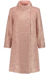 Raoul Metallic Boucle Mohair Blend Coat Pink