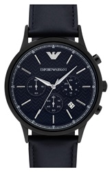 Emporio Armani Chronograph Leather Strap Watch 43Mm Navy Black