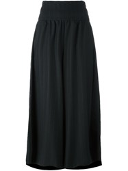 Y's Pinstripe Draped Flared Trousers Black