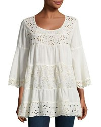 Johnny Was Bell Sleeve Eyelet Tiered Tunic Beige