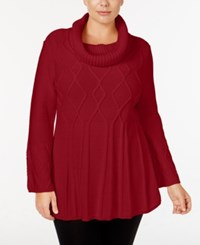 Styleandco. Style Co. Plus Size Cowl Neck Swing Hem Sweater Only At Macy's New Red Amore
