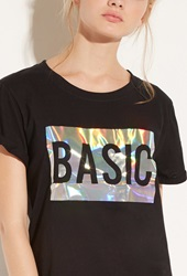 Forever 21 Local Heroes Basic Holo Tee Black Silver