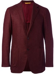 Canali Elbow Patch Blazer Red