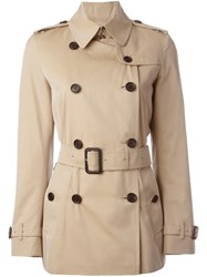 Burberry London Double Breasted Short Trench Coat Nude And Neutrals