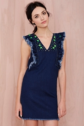 Nasty Gal Three Floor Crystal Clear Beaded Denim Dress