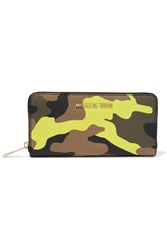 Michael Michael Kors Jet Set Printed Textured Leather Continental Wallet Yellow