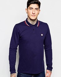 Pretty Green Polo Shirt With Tipping Long Sleeves Navy Blue