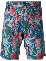 Naked And Famous Naked And Famous Flower Print Bermuda Shorts Blue