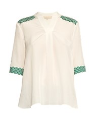 Vanessa Bruno Ducey Broderie Anglaise Silk Crepe Blouse White Multi