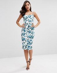 Asos Hitchcock Midi Pencil Dress In Blue Floral Multi
