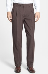 Men's Big And Tall Berle Self Sizer Waist Pleated Trousers Brown