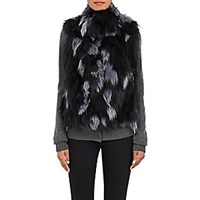 Barneys New York Women's Fox Fur Vest Dark Grey