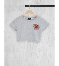 Illustrated People Cropped Cotton Jersey Top Grey
