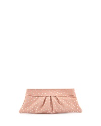 Lauren Merkin Eve Snap Metallic Star Lambskin Clutch Bag Pale Gold