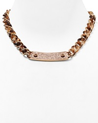 Michael Kors Pave Plaque Curb Chain Toggle Necklace 18