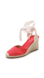 Soludos Linen Wedge Espadrilles Coral