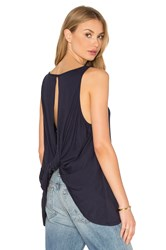 Bobi Light Weight Jersey Rolled Back Tank Navy