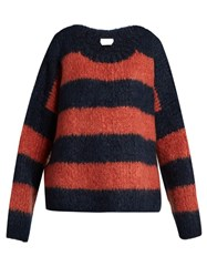 Chloe Striped Chunky Knit Sweater Navy Multi