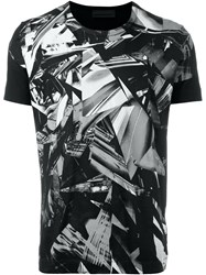Diesel Black Gold Shattered Glass Print Fitted T Shirt