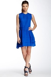Madison Marcus Slit Back Silk Dress Blue