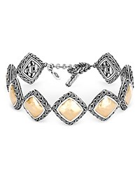 John Hardy Hammered 18K Yellow Gold And Sterling Silver Classic Chain Link Bracelet Silver Gold