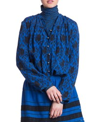 Plenty By Tracy Reese Printed Long Sleeve Shirt Tunic Blue