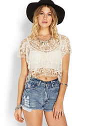 Forever 21 Wanderer Crochet Mesh Top Cream