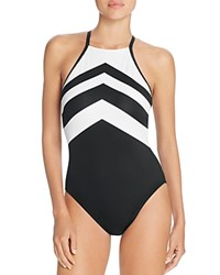 Ralph Lauren Chevron High Neck One Piece Swimsuit Black White
