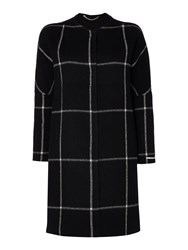 Marella Serafin Long Sleeve Wool Check Coat Black
