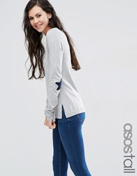Asos Tall Jumper With Navy Star Elbow Patch Grey