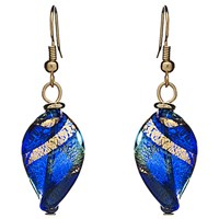 Martick Twist Murano Glass Drop Earrings Blue Gold