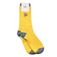 Folk Mixed Yellow And Blue Melange Socks